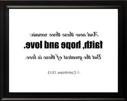 1 Corinthians 13:13 And Now Poster Print Picture or Framed W