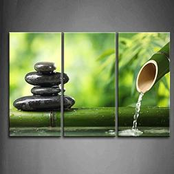 3 Panel Wall Art Green Spa Still Life With Bamboo Fountain A