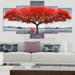 5pcs red tree modern canvas oil painting