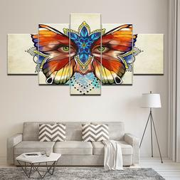 Butterfly Beautiful Girl Face 5 Pc Canvas Wall Art Picture P