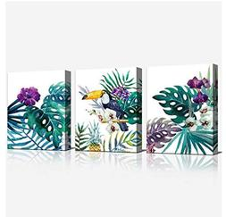 Canvas Wall Art Green Leaf Simple Life Orchid Flower Paintin