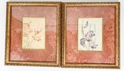Gold Framed Wall Art Flower Picture Prints Pair 4 Home Bathr