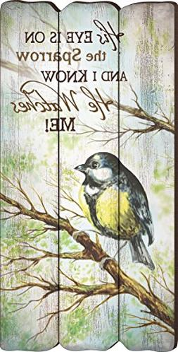 His Eye Is On The Sparrow Small 12x6 Fence Post Wood Look Wa