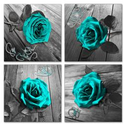 Canvas Wall Art Teal Blue Rose Canvas Prints Black and White