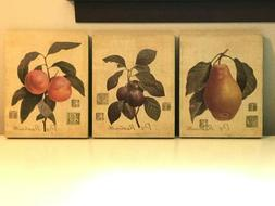 UIP Home Interiors Wall Art Pear Plums Peaches Set of 3 Unfr