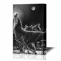 wall26 - Wolf Canvas Wall Art - Wolves under the Full Moon i
